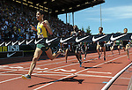 Matthew Centrowitz reacts as he crosses the finish line to win the men's 1500 meter run at the U.S. Outdoor Track and Field Championships in Eugene, Oregon June 25, 2011.  REUTERS/Steve Dykes (UNITED STATES)