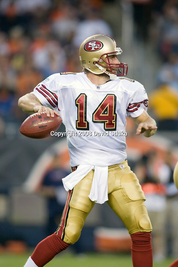 Quarterback J.T. O'Sullivan #14 of the San Francisco 49ers throws a pass against the Chicago Bears at Soldier Field on August 21, 2008 in Chicago, Illinois. The 49ers defeated the Bears 37-30. (AP Photo/David Stluka)