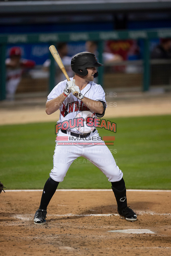 Indianapolis Indians pinch hitter Patrick Kivlehan (47) during an International League game against the Columbus Clippers on April 29, 2019 at Victory Field in Indianapolis, Indiana. Indianapolis defeated Columbus 5-3. (Zachary Lucy/Four Seam Images)