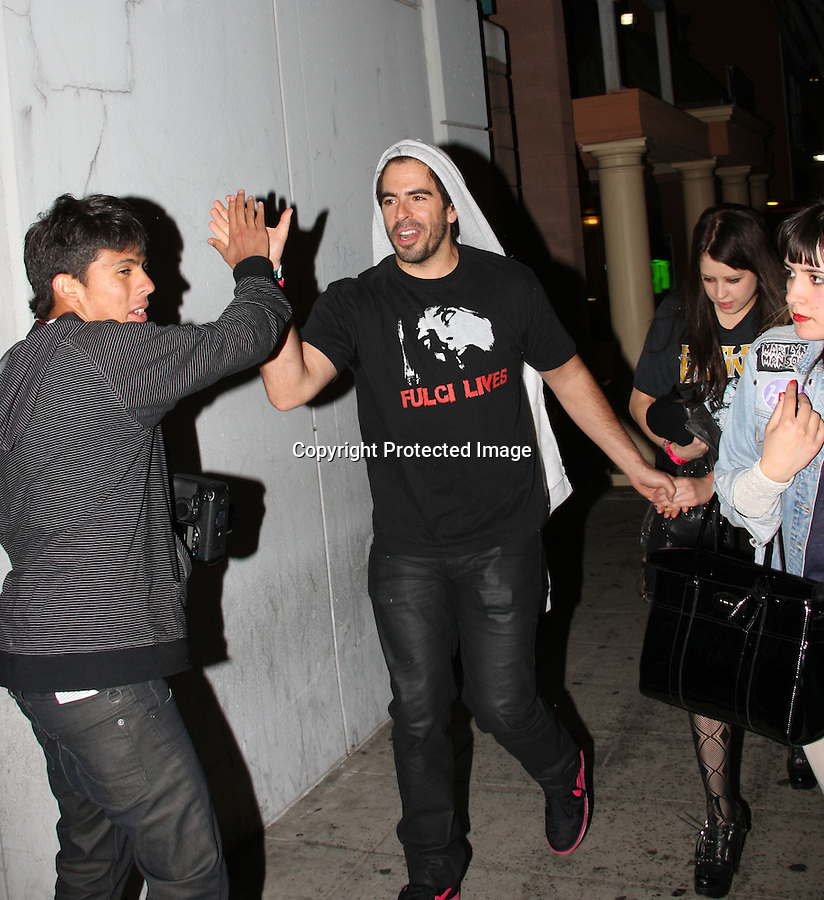 .4-20-2010.Exclusive...Peaches Geldof leaving the Roxy theatre in Hollywood with boyfriend Eli Roth. The couple watched a band called Semi Precious Weapons play.  Eli seemed to be in a really good mood giving a photographer a high five & laughing as he was holding hands with Peaches.  Eli was wearing a Fulci Lives t-shirt & Peaches was wearing a Harley Davidson t-shirt.  Quentin Tarantino & the singer Kesha also attended the concert....AbilityFilms@yahoo.com.805-427-3519.www.AbilityFilms.com