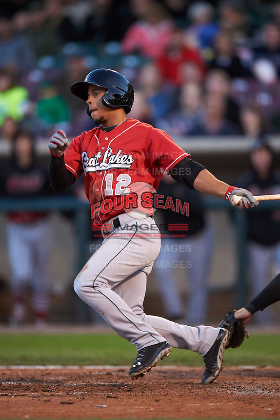 Great Lakes Loons second baseman Kelvin Ramos (12) at bat during a game against the Dayton Dragons on May 21, 2015 at Fifth Third Field in Dayton, Ohio.  Great Lakes defeated Dayton 4-3.  (Mike Janes/Four Seam Images)