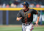 SF Giants' Hunter Pence runs the bases in a spring training game against the Seattle Mariners in Peoria, Ariz., on Wednesday, March 16, 2016. <br /> Photo by Cathleen Allison