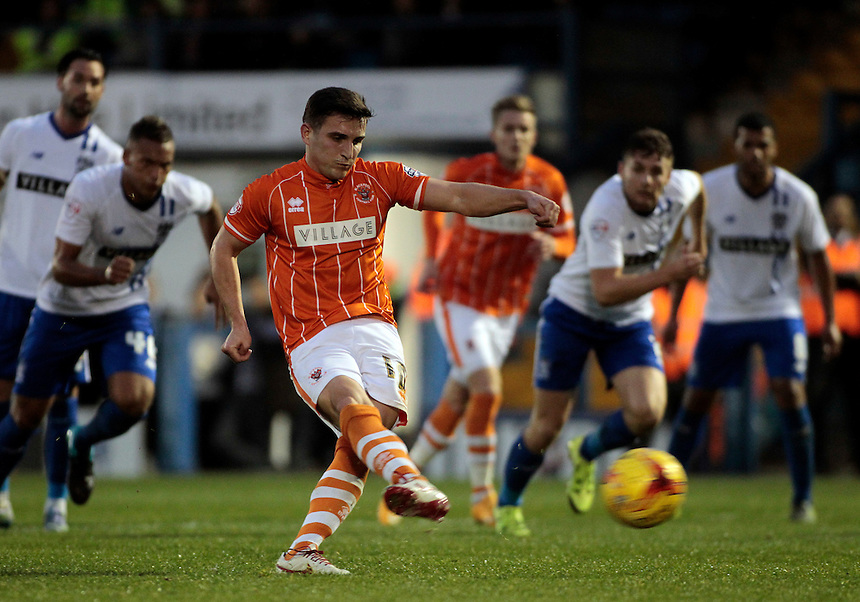 Blackpool's Jack Redshaw scores his sides third goal from the penalty spot<br /> <br /> Photographer David Shipman/CameraSport<br /> <br /> Football - The Football League Sky Bet League One - Bury v Blackpool - Saturday 31st October 2015 - Gigg Lane - Bury <br /> <br /> &copy; CameraSport - 43 Linden Ave. Countesthorpe. Leicester. England. LE8 5PG - Tel: +44 (0) 116 277 4147 - admin@camerasport.com - www.camerasport.com