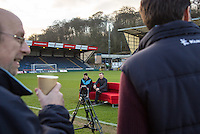 Wycombe player Matt Bloomfield & Manager Gareth Ainsworth on the sofa During BBC Breakfast as they air their live broadcast on Tuesday morning, presented by Bill Turnbull for his penultimate appearance on the programme at Adams Park, High Wycombe, England on 23 February 2016. Photo by Andy Rowland.