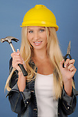 Stock Photos Attractive woman wearing construction gear