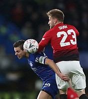 Chelsea's Cesar Azpilicueta and Manchester United's Luke Shaw<br /> <br /> Photographer Rob Newell/CameraSport<br /> <br /> Emirates FA Cup Fifth Round - Chelsea v Manchester United - Monday 18th February - Stamford Bridge - London<br />  <br /> World Copyright © 2019 CameraSport. All rights reserved. 43 Linden Ave. Countesthorpe. Leicester. England. LE8 5PG - Tel: +44 (0) 116 277 4147 - admin@camerasport.com - www.camerasport.com