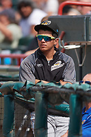 Akron RubberDucks Yonathan Mendoza (37) in the dugout during a game against the Erie SeaWolves on August 27, 2017 at UPMC Park in Erie, Pennsylvania.  Akron defeated Erie 6-4.  (Mike Janes/Four Seam Images)