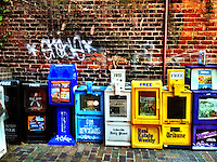 Colorful newspaper machines in downtown Asheville, NC, January 2013, iPhone photo from the archive at bcpix.com. (Photo by Brian Cleary/www.bcpix.com)