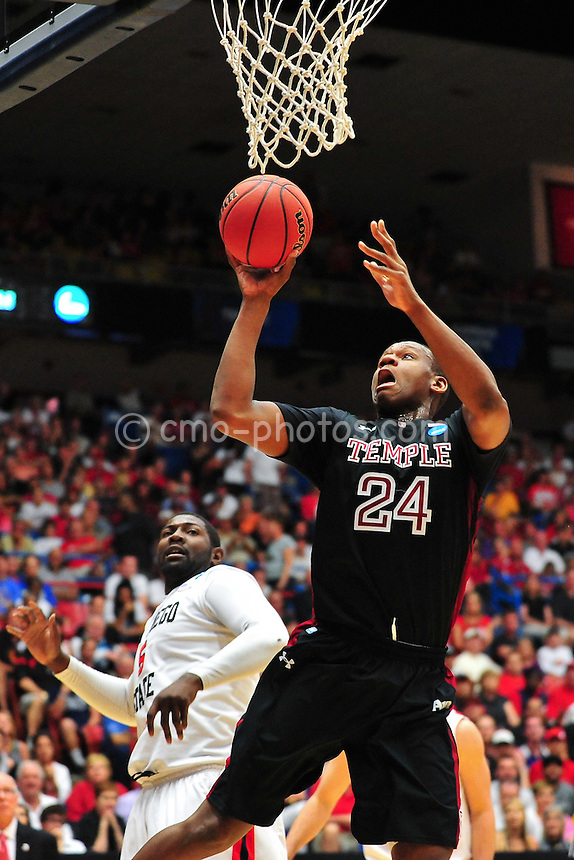 Mar 19, 2011; Tucson, AZ, USA; Temple Owls forward Lavoy Allen (24) shoots the ball in the first half of a game against the San Diego State Aztecs in the third round of the 2011 NCAA men's basketball tournament at the McKale Center.