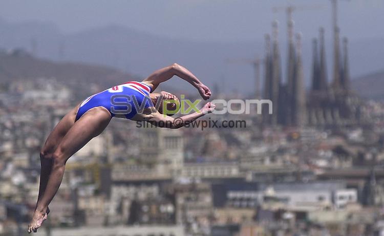 Pix: Matthew Lewis/SWpix.com. Diving. 10th Fina World Championships 2003, Barcelona. 16/07/2003...COPYRIGHT PICTURE>>SIMON WILKINSON>>01943 436649>>..Great Britain's Monique McCarroll competes in the Womens 10m Platform Preliminary's.