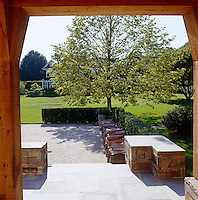 A view of the garden from the covered porch