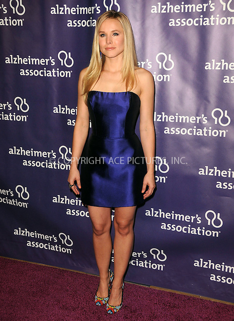 WWW.ACEPIXS.COM . . . . .  ....March 21 2012, LA....Kristen Bell arriving at the 20th Anniversary Alzheimer's Association 'A Night At Sardi's'at The Beverly Hilton Hotel on March 21, 2012 in Beverly Hills, California. ....Please byline: PETER WEST - ACE PICTURES.... *** ***..Ace Pictures, Inc:  ..Philip Vaughan (212) 243-8787 or (646) 769 0430..e-mail: info@acepixs.com..web: http://www.acepixs.com