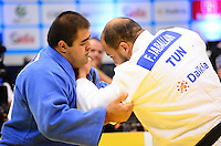 RIO DE JANEIRO, RJ,31 DE AGOSTO DE 2013 -CAMPEONATO MUNDIAL DE JUDÔ RIO 2013-FaicelJaballah da Tunísia(de branco) derrotou  Adam Okruashvili da Geórgia na categoria -+100g no Mundial de Judô Rio 2013, no Maracanazinho de 26 de agosto a 01 de setembro, zona norte do Rio de Janeiro.FOTO:MARCELO FONSECA/BRAZIL PHOTO PRESS