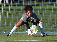 Boyds, MD - April 16, 2016: Boston Breakers goalkeeper Abby Smith (14). The Washington Spirit defeated the Boston Breakers 1-0 during their National Women's Soccer League (NWSL) match at the Maryland SoccerPlex.