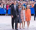 (L to R) King Felipe VI, Queen Letizia, Princess of Asturias Leonor and  Infant Sofia of Spain during the arrival to Oviedo because of the Princess of Asturias Awards 2019 . October 17, 2019.. (ALTERPHOTOS/ Francis Gonzalez)