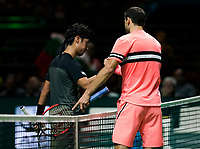 ABNAMRO World Tennis Tournament, 14 Februari, 2018, Rotterdam, The Netherlands, Ahoy, Tennis, Grigor Dimitrov (BUL), Yuichi Sugita (JPN)<br /> <br /> Photo: www.tennisimages.com