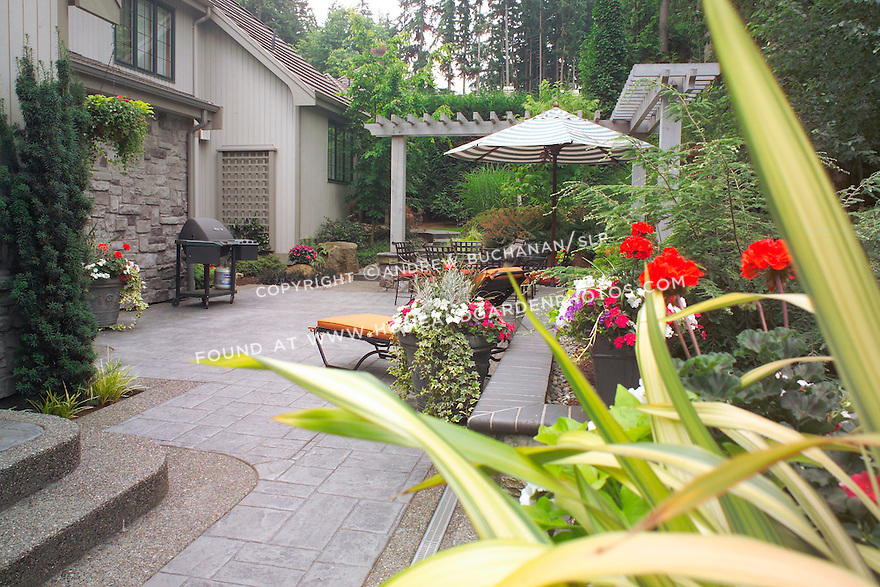 The lower-level dining and entertaining patio right outside the kitchen doors nestles below grade and provides privacy and intimacy in this small backyard suburban garden east of Seattle. Design by Sander Groves landscapes, Inc.