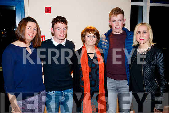Aisling McElligott, Brian McAuliffe, Eithne McAuliffe, Conor O'Keeffe and Dolores McElligott, pictured at the Dunnes Stores and Paul Galvin Shelby Autumn Winter Fashion Show, held at the Brandon Hotel, Tralee on Friday night last.