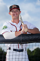 Danville Braves outfielder Matt Hearn (7) poses for a photo prior to the game against the Pulaski Yankees at American Legion Post 325 Field on August 1, 2016 in Danville, Virginia.  The Yankees defeated the Braves 4-1.  (Brian Westerholt/Four Seam Images)