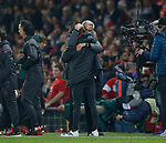 Jose Mourinho manager of Manchester United hugs his son at the end of the match during the Europa League Semi Final 2nd Leg match at Old Trafford Stadium, Manchester. Picture date: May 11th 2017. Pic credit should read: Simon Bellis/Sportimage