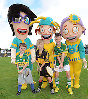 To celebrate Centra's sponsorship of the GAA Hurling All-Ireland Senior Championship, The Centra  Brighten up Your  Day Community event took place at Fitzgerald Stadium, Killarney on Saturday.  Pictured are the 'McCarthy family' hurling cartoon characters with  Hugh Lenihan, Fenit, Brian O'Connor, Dr Crokes and Padraic Looney, Dr Crokes. Picture: Eamonn Keogh (MacMonagle, Killarney)