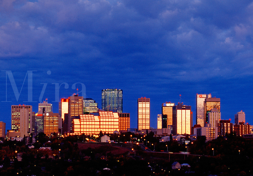 Sunrise reflections in city skyline Edmonton Alberta Canada.