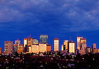 Sunrise reflections in city skyline Edmonton Alberta Canada.