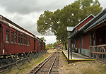 Railroad cars and train station in historic Nevada City, Montana