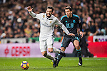 Nacho Fernandez of Real Madrid gets tripped up by Mikel Oyarzabal of Real Sociedad during their La Liga match between Real Madrid and Real Sociedad at the Santiago Bernabeu Stadium on 29 January 2017 in Madrid, Spain. Photo by Diego Gonzalez Souto / Power Sport Images