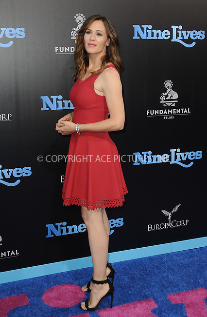 www.acepixs.com<br /> <br /> August 1 2016, LA<br /> <br /> Jennifer Garner arriving at the premiere Of 'Nine Lives' at the TCL Chinese Theatre on August 1, 2016 in Hollywood, California.<br /> <br /> By Line: Peter West/ACE Pictures<br /> <br /> <br /> ACE Pictures Inc<br /> Tel: 6467670430<br /> Email: info@acepixs.com<br /> www.acepixs.com