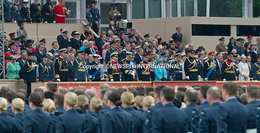 "QUEEN DIAMOND JUBILEE TRIBUTE.Thousands of troops, six massed bands and the biggest tri-Service flypast in years formed a spectacular tribute by the Armed Forces to Her Majesty The Queen at Windsor, on the occasion of her Diamond Jubilee_19/05/2012.The event was watched by The Queen, Duke of Edinburgh, Pince Andrew, Princess Anne, Timothy Lawrence, Prince Edward, Sophie Countess of Wessex, Prince and Princess Michael of Kent, Queen Margarethe and Prince Henrik of Denmark, King Gustaf and Queen Silvia of Sweden, King Harald and Queen Sonja, ex-King Constantine and Queen Anne-Marie of Greece, King Michael and Queen Anne of Romania, King Letsie lll and Queen of Lesotho, King Mswati III and Queen of Swaziland.Mandatory credit photo: ©NEWSPIX INTERNATIONAL..(Failure to credit will incur a surcharge of 100% of reproduction fees)..                **ALL FEES PAYABLE TO: ""NEWSPIX INTERNATIONAL""**..IMMEDIATE CONFIRMATION OF USAGE REQUIRED:.DiasImages, 31a Chinnery Hill, Bishop's Stortford, ENGLAND CM23 3PS.Tel:+441279 324672  ; Fax: +441279656877.Mobile:  07775681153.e-mail: info@newspixinternational.co.uk"