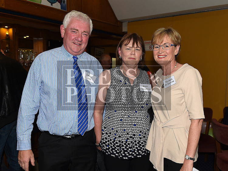 Sean Walsh, Gwen Loughran and Mairead McGuinness MP at the Ardee CS Leaving Cert Class of 1976 reunion in Ardee Golf Club. . Photo:Colin Bell/pressphotos.ie