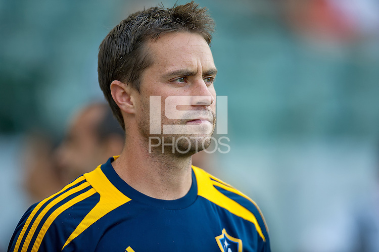 CARSON, CA - July 4, 2012: LA Galaxy defender Todd Dunivant (2) prior to the LA Galaxy vs Philadelphia Union match at the Home Depot Center in Carson, California. Final score LA Galaxy 1, Philadelphia Union 2.