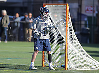 Washington, DC - February 27, 2018: Georgetown Hoyas Nick Marrocco (1) calls out the defense during game between Mount St. Mary's and Georgetown at  Cooper Field in Washington, DC.   (Photo by Elliott Brown/Media Images International)