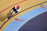 PICTURE BY ALEX BROADWAY /SWPIX.COM - 2012 London Paralympic Games - Day Three - Track Cycling - Velodrome, Olympic Park, London, England - 01/09/12 - Jody Cundy of Great Britain competes in the Men's Individual C4 Pursuit Bronze Medal race.