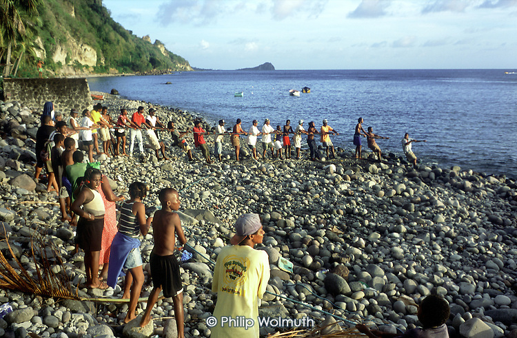 Residents of the fishing village of Pointe Michel pull on a seine net as fishermen attempt to catch a shoal of tuna feeding close to the shore.  Scotts Head, the southern tip of the island, is visible in the background.