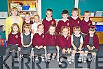 Junior infants at Scoil Realt na Mara, Cromane Maria Bubendorfer, Saoirse Harkin, Eva Spain, Lauren Griffin, Riadh O'Sullivan, Ciara Griffin, Charlotte Ambrose, Kielen Begley, Deaglan Rietveld, Noel Hannon, John Horgan, Cormac Riordan and Sean Keane pictured with their teacher Lesley Ann Colgan on Monday.............................................................................................................