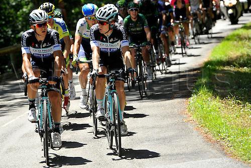 22.07.2014. Carcassonne to Bagnères-de-Luchon, France. Tour de France cycling championship, stage 16.   KWIATKOWSKI Michal (POL - Omega Pharma - Quick-Step cycling team) and BAKELANTS Jan (BEL - Omega Pharma - Quick-Step cycling team)