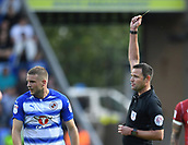 9th September 2017, Madejski Stadium, Reading, England; EFL Championship football, Reading versus Bristol City; Referee shows Joey van den Berg of Reading a yellow card