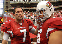 Aug 18, 2007; Glendale, AZ, USA; Arizona Cardinals quarterback Matt Leinart (7) talks with teammate guard Deuce Lutui (76) prior to the game against the Houston Texans at University of Phoenix Stadium. Mandatory Credit: Mark J. Rebilas-US PRESSWIRE Copyright © 2007 Mark J. Rebilas