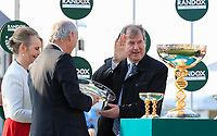 14h April 2018, Aintree Racecourse, Liverpool, England; The 2018 Grand National horse racing festival sponsored by Randox Health, day 3;  Owner JP McManus receives his plate for finishing fourth on Anibale Fly