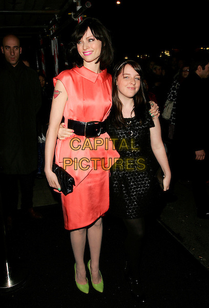 SOPHIE ELLIS BEXTOR & GUEST.Karl Lagerfeld's private Chanel dinner at Nobu, London, England. .December 5th, 2007.full length pink peach dress black belt tattoo sleeveless clutch bag purse fluorescent shoes .CAP/AH.©Adam Houghton/Capital Pictures.