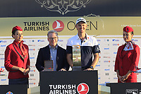 Justin Rose (ENG), pictured with Keith Pelley CEO European Tour, wins the playoff hole and the tournament and also moves back to No.1 in the world at the end of Sunday's Final Round of the 2018 Turkish Airlines Open hosted by Regnum Carya Golf &amp; Spa Resort, Antalya, Turkey. 4th November 2018.<br /> Picture: Eoin Clarke | Golffile<br /> <br /> <br /> All photos usage must carry mandatory copyright credit (&copy; Golffile | Eoin Clarke)