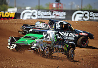 Apr 15, 2011; Surprise, AZ USA; LOORRS driver Casey Currie (2) follows Brian Deegan (38) during round 3 and 4 at Speedworld Off Road Park. Mandatory Credit: Mark J. Rebilas-.