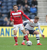 Preston North End's Ryan Ledson in action with Bristol City's Josh Brownhill<br /> <br /> Photographer Mick Walker/CameraSport<br /> <br /> The EFL Sky Bet Championship - Preston North End v Bristol City - Saturday 2nd March 2019 - Deepdale Stadium - Preston<br /> <br /> World Copyright © 2019 CameraSport. All rights reserved. 43 Linden Ave. Countesthorpe. Leicester. England. LE8 5PG - Tel: +44 (0) 116 277 4147 - admin@camerasport.com - www.camerasport.com