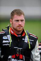 Oct. 3, 2009; Kansas City, KS, USA; NASCAR Nationwide Series driver Robert Richardson Jr during qualifying for the Kansas Lottery 300 at Kansas Speedway. Mandatory Credit: Mark J. Rebilas-