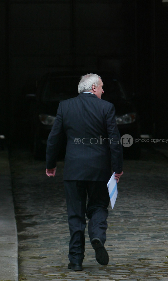 02/04/2008.An Taoiseach Bertie Ahern TD  at Government Buildings, Dublin after announcing that he will tender his resignation to President Mary McAleese on 6 May..Photo: Gareth Chaney Collins