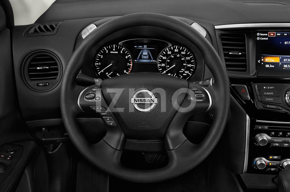 Car pictures of steering wheel view of a 2018 Nissan Pathfinder S 5 Door SUV Steering Wheel