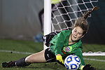 06 December 2013: Virginia goalkeeper Jessie Ferrari makes a save during the penalty kick shootout. The University of California Los Angeles Bruins advanced over the University of Virginia Cavaliers in penalty kicks following a 1-1 tie at WakeMed Stadium in Cary, North Carolina in a 2013 NCAA Division I Women's College Cup semifinal match.
