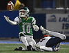 Jason Rebaudo #10 of Seaford intercepts a Cold Spring Harbor pass during the second quarter of the Nassau County football Conference IV final at Shuart Stadium in Hempstead on Friday, Nov. 16, 2018.